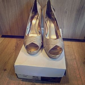 Champagne/Gold stiletto sandals